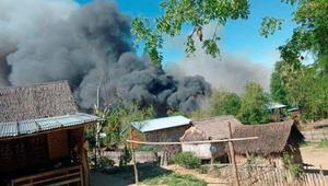 Myanmar village of burns down after classes