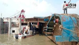 Ferry capsizes with 14 trucks at Paturia Ghat