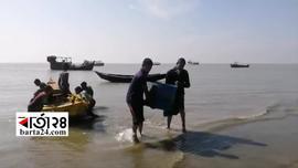 কুয়াকাটায় জালভর্তি সামুদ্রিক মাছ