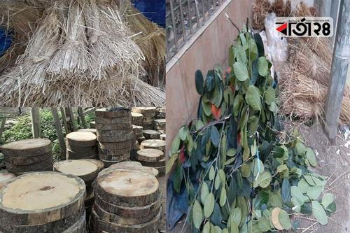 ঘাস-খড়,পাতা ও খাটিয়া বিক্রিতে ব্যবসা জমজমাট