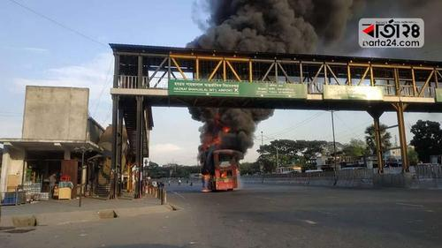 BRTC bus catches fire at Kurmitola