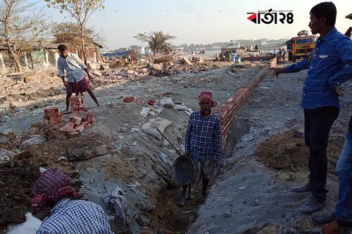 কর্ণফুলীতে চলছে উচ্ছেদকৃত ভূমির সীমানা পিলারের কাজ