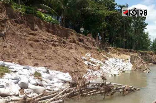 দায়সারা কাজ, ধসে গেছে মহাদেও নদী সংরক্ষণ বাঁধ