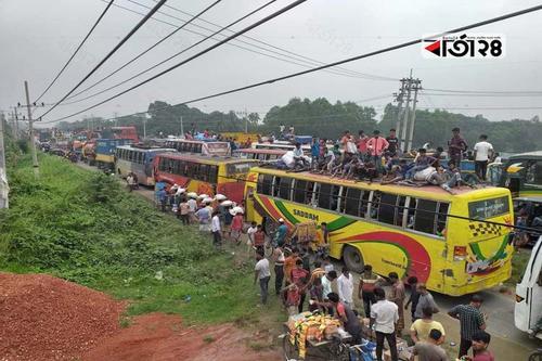 ঢাকা-টাঙ্গাইল মহাসড়কে ৩০ কিলোমিটার যানজট