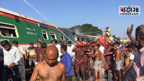 Fire originates from oil tanker explosion of Rangpur Express