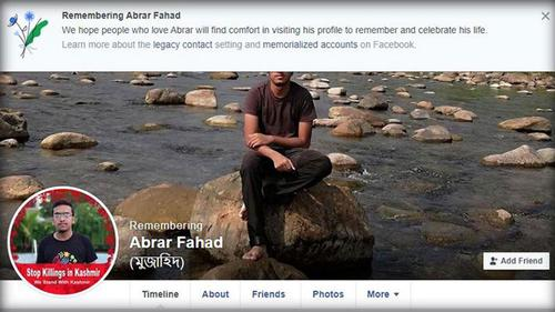 Facebook tags 'Remembering' in the profile of Abrar