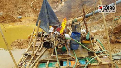 সিলেটে পাথর কোয়ারিতে অভিযান, বোমা মেশিন ধ্বংস