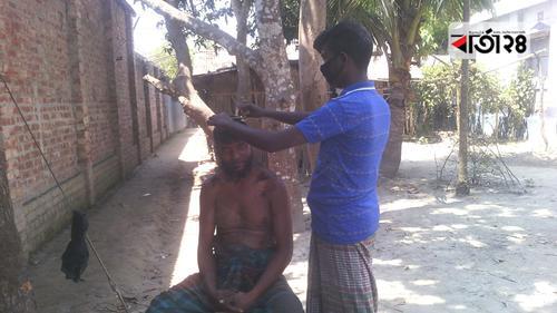 সেলুন বন্ধ, নরসুন্দররা এখন গ্রামে গ্রামে