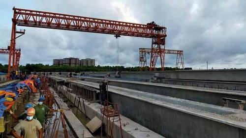 Pre-cast work at Jaijira end of Padma Bridge is almost complete