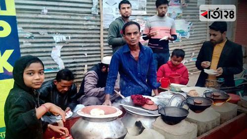 সুনামগঞ্জে শীতের আমেজে পিঠা বিক্রির ধুম