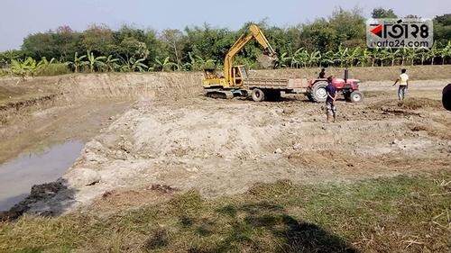 চুয়াডাঙ্গায় ফসলি জমির মাটি যাচ্ছে ইট ভাটায়