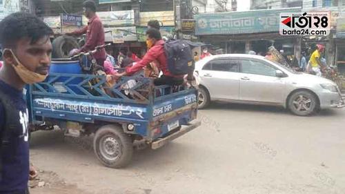 Homebound Eid people using pickup vans due to hiked bus fair
