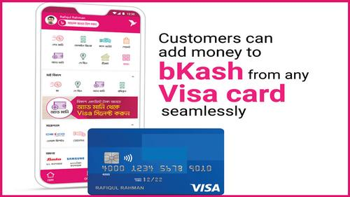 Customers can add money to bKash from any Visa card seamlessly