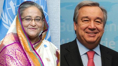 UN chief greets PM over phone