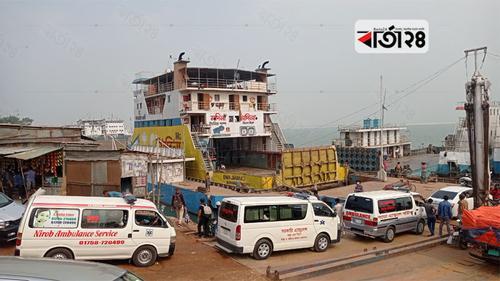 দৌলতদিয়া-পাটুরিয়া নৌরুটে ফেরি চলাচল বন্ধ
