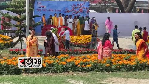 বর্ণিল আয়োজনে সোহরাওয়ার্দী হাসপাতালে বসন্ত বরণ