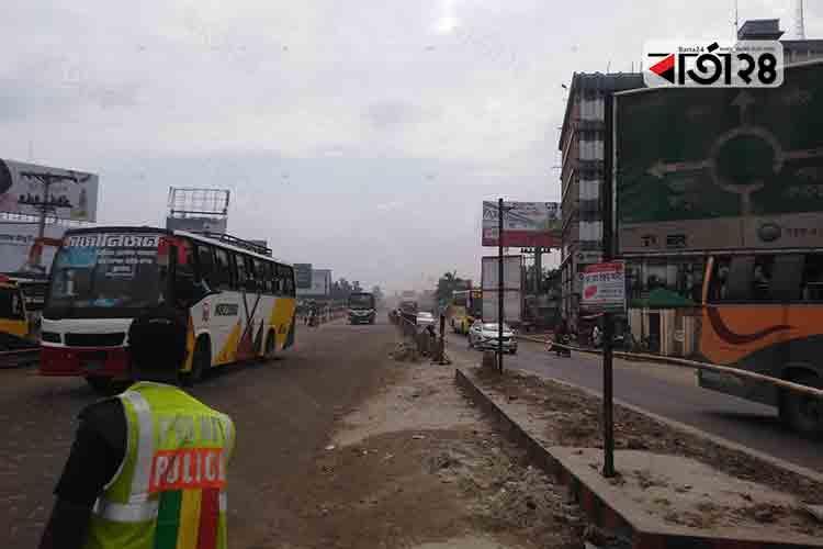 ঢাকা-সিরাজগঞ্জ মহাসড়ক। ছবি: বার্তাটোয়েন্টিফোর.কম।