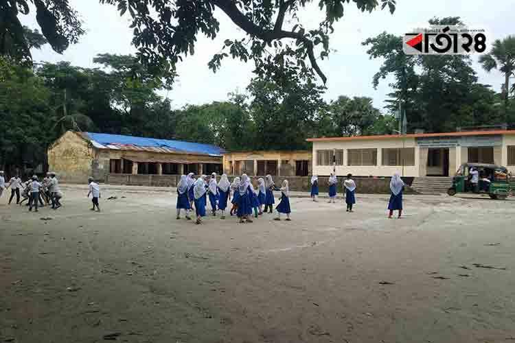 হাজীগঞ্জ উপজেলার মোহাম্মদপুর সরকারি প্রাথমিক বিদ্যালয়। ছবি: বার্তাটোয়েন্টিফোর.কম।
