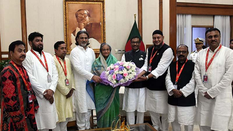 Newly elected Jubo League leaders met PM Sheikh Hasina