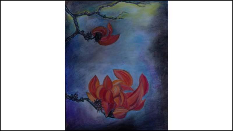 শিল্পী প্রীতিশ্রী রায় অঙ্কিত 'নষ্ট বসন্ত', ছবি: বার্তা২৪.কম
