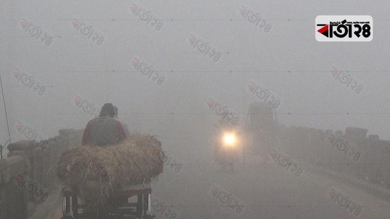 ঝিনাইদহে ঘন কুয়াশায় ঢাকা পড়েছে চারপাশ