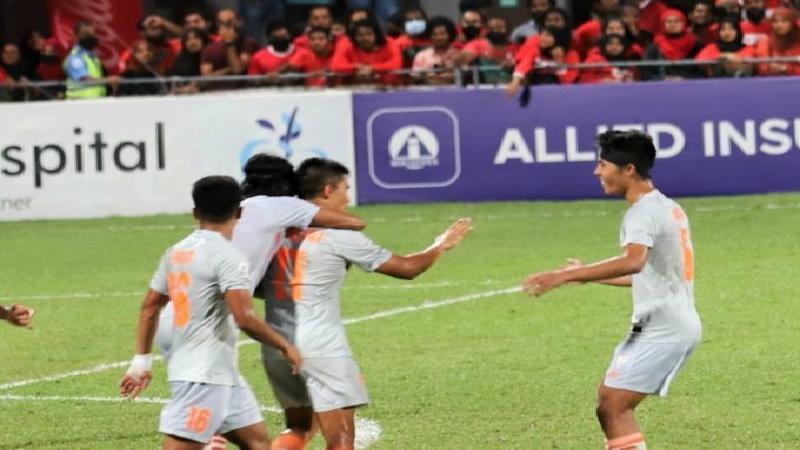 ভারতের ফুটবলারদের গোল উদযাপন